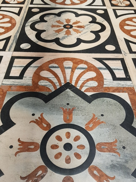 Lovely motifs on the floor of the interior of Milan Cathedral.
