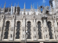 The intricately beautiful side of Milan Cathedral.