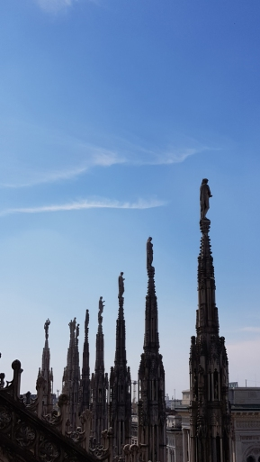 Statues on Milan Cathedral's rooftop.