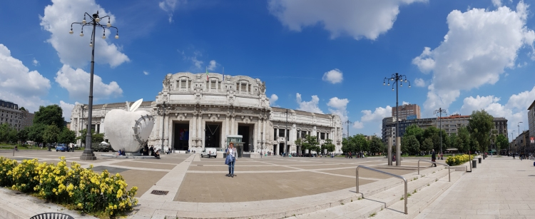Milano Centrale Railway Station on a beautiful day.