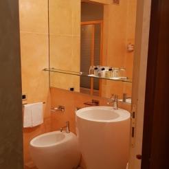 Interesting tiles for a hotel bathroom.