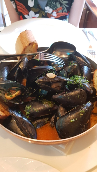 Mussel soup in Milan