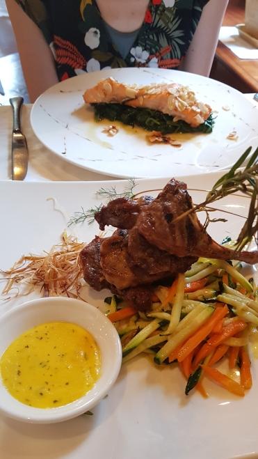 Lamb and Salmon in Milan.