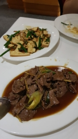 Sliced beef and beancurd.