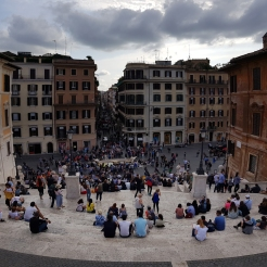 Looking down halfway on the Spanish Steps. Rome, Italy.