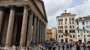 Busy street outside the Pantheon in Rome, Italy.