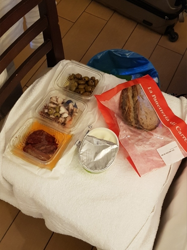 Dinner in the hotel. Bought from the nearby Carrefour.
