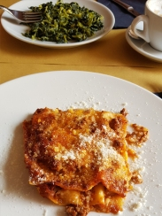Lasagna. RR was having a strange plate of boiled greens.