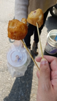 Free samples; fried cuttlefish balls.