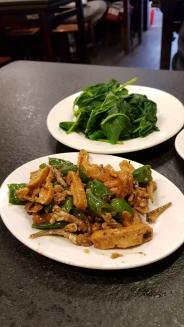 Braised tofu and greens.