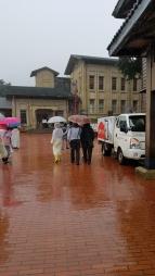 People walking in the rain.