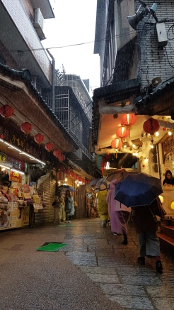 Visitors caught in the rain, Jiufen, Taiwan.