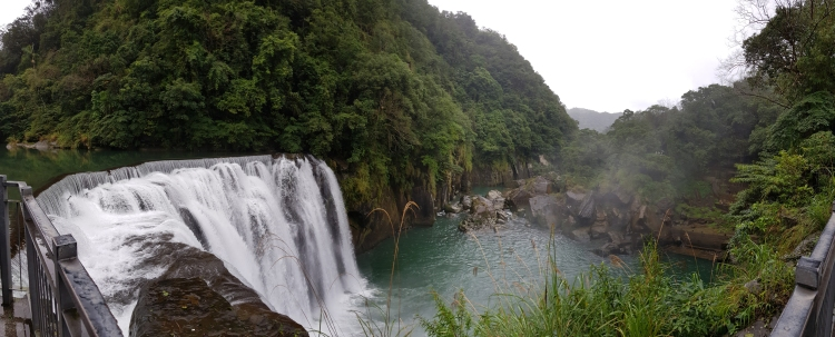 Panoramic shot of shifen waterfall.