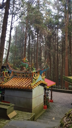 An elaborate shrine among towering trees.