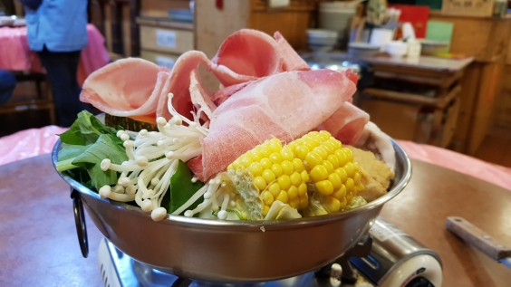 A hotpot of meat and vegetables.