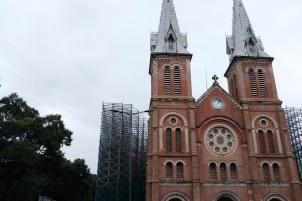 Saigon Notre Dame Cathedral under renovation.