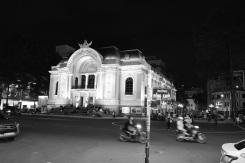 Saigon Municipal Opera House at night.