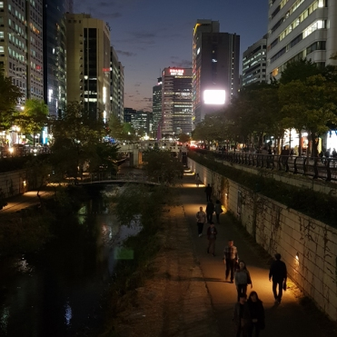 A body of water running through the city. Seoul, Korea.