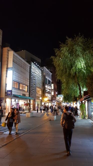 Beautiful weeping willow tree in Insadong. Seoul, Korea.