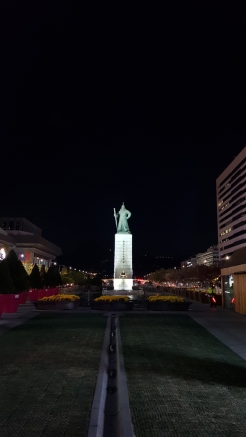 Statue of Admiral Yi Sun-Sin, lighted up at night. Seoul, Korea.