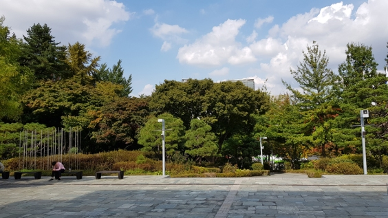 The courtyard of Seoul Museum of Art. Green trees and clear blue sky.