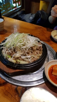A delicious plate of Korean bulgogi pork with generous amount of spring onion. Seoul, Korea,
