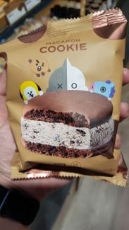 An ice-cream macron sandwich.