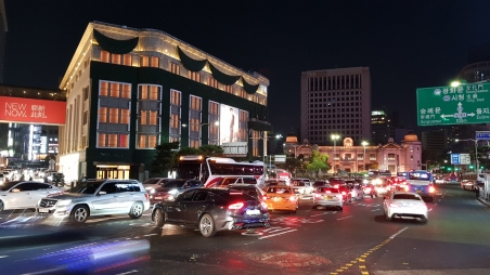 Heavy night traffic. Seoul, Korea.