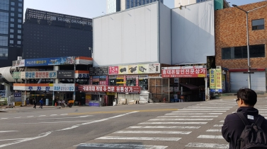 Early morning at Yongsan Electronics Market.