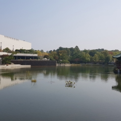 A beautiful body of water infront of the National Museum of Korea.