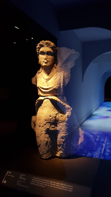 Ancient sculpture of an Etruscan goddess who guides the souls to the after life. National Museum of Korea, Seoul.