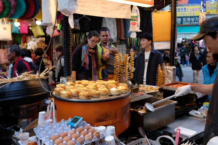 Food vendor at Namdaemun market. Seoul, Korea.