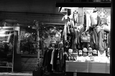 Stall selling clothing in Ikseon-dong Hanok Village. Seoul, Korea.