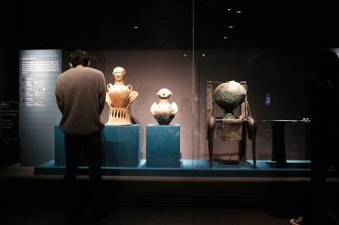 A man examining Etruscan ruins