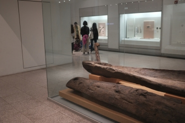 Remains of an ancient raft on displayed in National Museum of Korea.