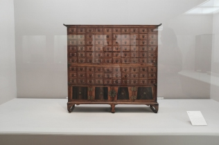 An ancient wooden medicine cabinet on displayed in National Museum of Korea.