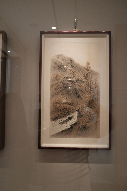 A traditional Korean landscape painting displayed in National Museum of Korea.