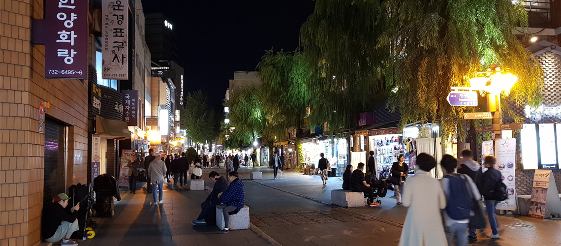 Night scene at Insadong. Seoul, Korea.