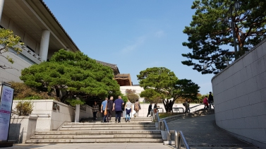 Up this flight of stairs and you will see Gyeongbokgung Palace.