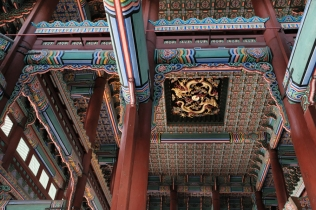 Impressively ornate ceiling of the throne room in Gyeongbokgung Palace. Seoul, Korea.