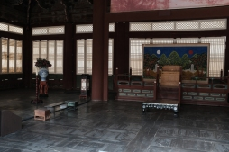 Interior of hall in Gyeongbokgung Palace. Seoul, Korea.