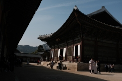 A beautiful day with clear blue sky in Gyeongbokgung Palace. Seoul, Korea.