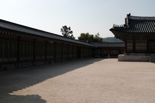 An empty court yard in Gyeongbokgung Palace. Seoul, Korea.