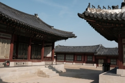 Ancient Korean style architecture in Gyeongbokgung Palace. Seoul, Korea.