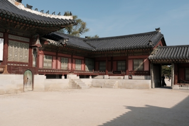 Empty court yard in Gyeongbokgung Palace. Seoul, Korea.