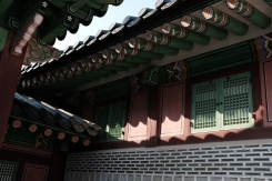 Roof, windows and shadow in Gyeongbokgung Palace. Seoul, Korea.