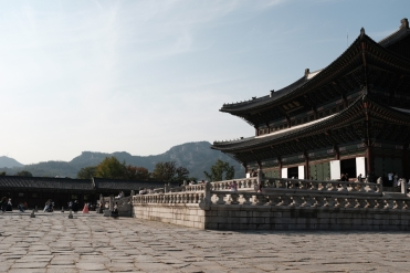 Amazing palace in Gyeongbokgung Palace. Seoul, Korea.