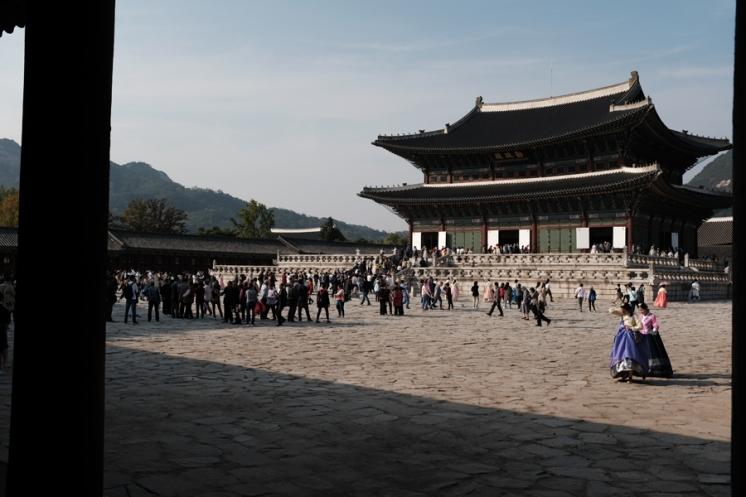Crowded Gyeongbokgung Palace. Seoul, Korea.