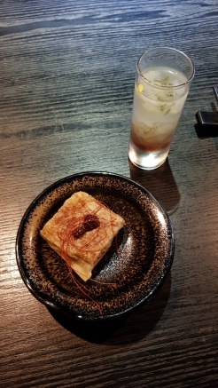 Some tofu skin and a sweet beverage.